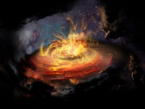 Artist impression of chaotic magnetic field lines very near a newly emerging protostar. Credit: NRAO/AUI/NSF; D. Berry